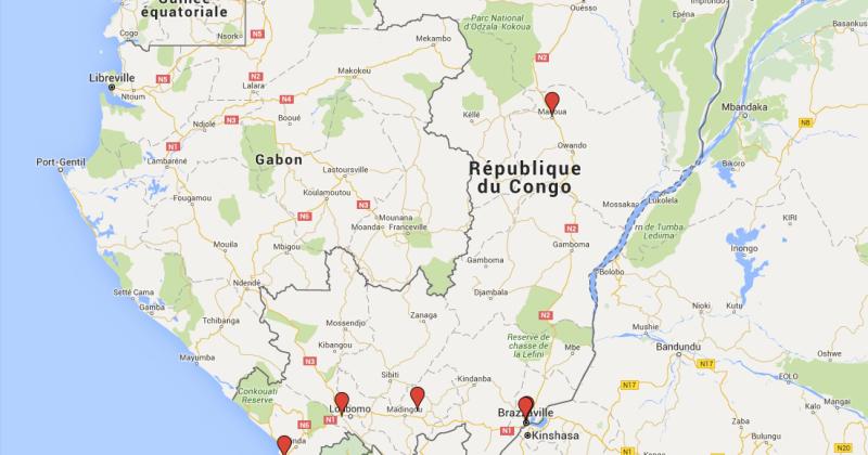 Carte des projets PCPA Congo